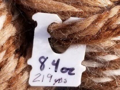 Alpaca yarn - Skein 12 -golden brown, cream, and light tan - tag