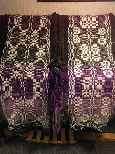Another view of the overshot embellishment at the top and bottom of the blanket